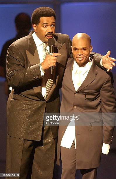 Host Steve Harvey Kirk Franklin perform during a taping of BET's 2nd Annual Celebration of Gospel on January 26 2002 at the Wiltern Theater in Los...