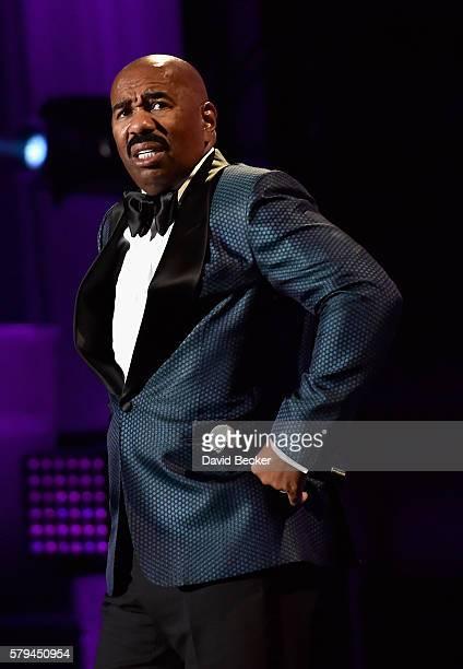 Host Steve Harvey speaks during the 2016 Neighborhood Awards hosted by Steve Harvey at the Mandalay Bay Events Center on July 23 2016 in Las Vegas...