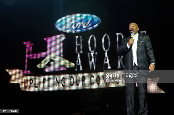 Host Steve Harvey speaks onstage during the ninth annual Ford Hoodie Awards at the Mandalay Bay Events Center August 13, 2011 in Las Vegas, Nevada.