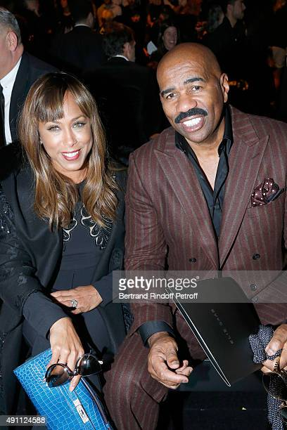 Host Steve Harvey with his wife Marjorie attend the Elie Saab show as part of the Paris Fashion Week Womenswear Spring/Summer 2016 on October 3 2015...
