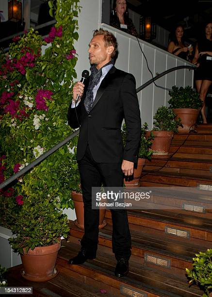 Host Steve Jordan speaks at Exceptional Children's Foundation Fundraising Gala at SkyBar at the Mondrian Los Angeles on October 17, 2012 in West...