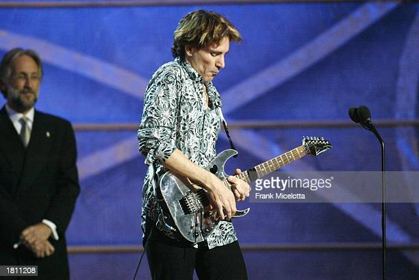 Host Steve Vai performs during the 45th Annual Grammy Awards Pre Telecast Music Show at Madison Square Garden on February 23 2003 in New York City