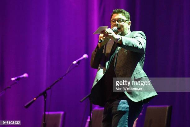 Host Storme Warren speaks onstage during ACM Stories Songs Stars A Songwriter's Event Benefiting ACM Lifting Lives at The Joint inside the Hard Rock...