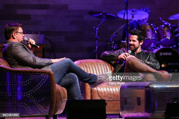 Host Storme Warren speaks with JT Hodges during Nashville House Concerts at War Memorial Auditorium on April 5 2018 in Nashville Tennessee