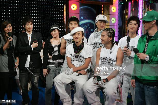 Host Suchin Pak interviews Korean pop stars Se7en Gummy Big Bang and Jinusean during a taping of 'MTV K Presents Se7en and the YG Family' at the MTV...