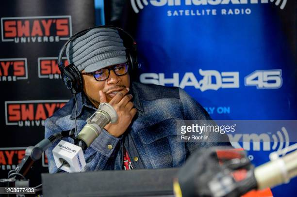 Host Sway Calloway as Guy Fieri visits Sways Universe to discuss his Chicken Guy sandwich at SiriusXM Studios on February 25 2020 in New York City