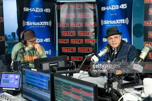 Host Sway Calloway with Joe Pantoliano as he visits Sways Universe at SiriusXM Studios on March 3 2020 in New York City