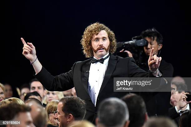 Host T J Miller onstage during The 22nd Annual Critics' Choice Awards at Barker Hangar on December 11 2016 in Santa Monica California