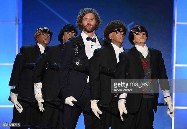 Host T J Miller speaks onstage during the 21st Annual Critics' Choice Awards at Barker Hangar on January 17 2016 in Santa Monica California