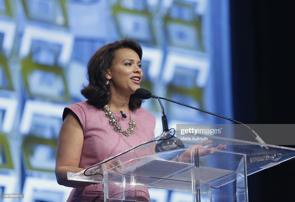 Host Tamala Edwards speaks on stage during Pennsylvania Conference For Women at Pennsylvania Convention Center on November 19, 2015 in Philadelphia, Pennsylvania.
