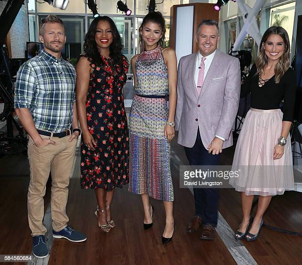 Host Tanner Thomason actress/host Garcelle Beauvais actress Zendaya and hosts Ross Mathews and Kristen Brockman pose at Hollywood Today Live at W...