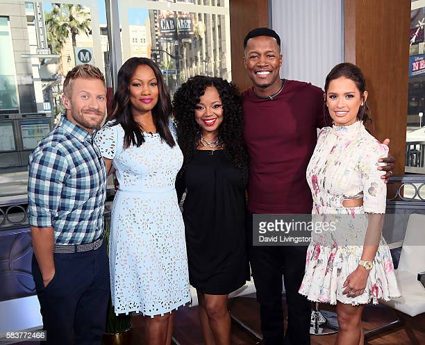Host Tanner Thomason actress/host Garcelle Beauvais singer Shanice husband actor Flex Alexander and host Rocsi Diaz attend Hollywood Today Live at W...