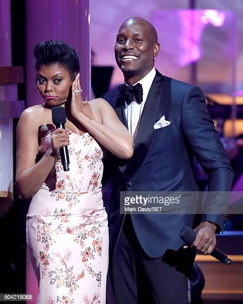 Host Taraji P Henson and singer Tyrese Gibson speak onstage during BET Celebration Of Gospel 2016 at Orpheum Theatre on January 9 2016 in Los Angeles...