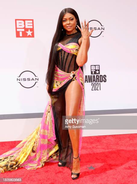 Host Taraji P. Henson attends the BET Awards 2021 at Microsoft Theater on June 27, 2021 in Los Angeles, California.