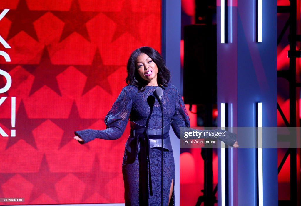 Host Taranji P. Hanson speaks onstage during the 2017 Black Girls Rock! at NJPAC on August 5, 2017 in Newark, New Jersey.