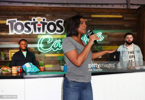 Host Taylor Rooks speaks during the Nacho FaceOff between Barry Sanders and Baker Mayfield at The Tostitos Cantina at Super Bowl LIVE in Atlanta...