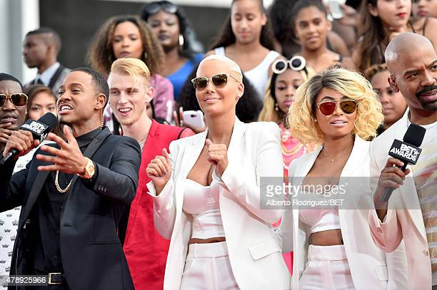 Host Terrence J, rapper Machine Gun Kelly, model Amber Rose and model Blac Chyna attend the BET Awards pre-show during the 2015 BET Awards at the...