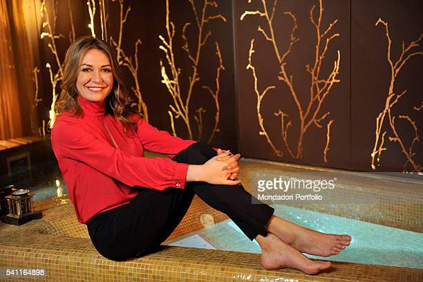 TV host Tessa Gelisio posing on the edge of a thermal swimming pool for a photoshooting inside a spa after the third episode of TV show In forma con...