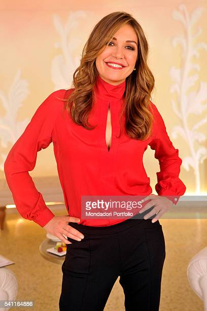 TV host Tessa Gelisio posing with her hands on her hips for a photoshooting after the third episode of TV show In forma con Starbene Milan 10th...