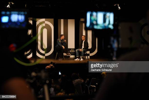 Host ThierryMaxime Loriot and designer Viktor Horsting speak at a panel talk ahead of the 'Viktor Rolf' fashion show during Bread Butter by Zalando...