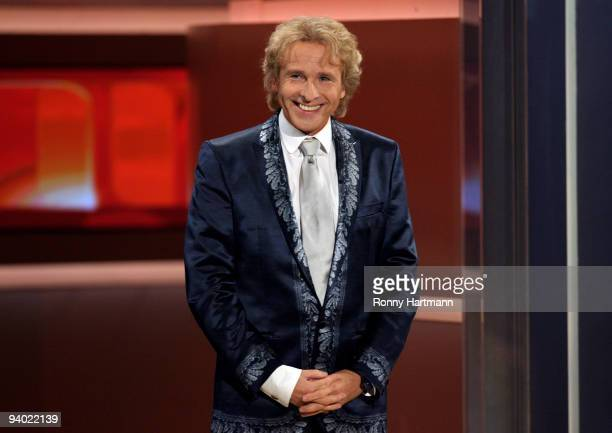 Host Thomas Gottschalk attends the Wetten dass...? show at the AWD Dome on December 5, 2009 in Bremen, Germany.