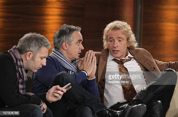 TV host Thomas Gottschalk chats with TV producers after he announced that the show is cancelled during the 192th 'Wetten dass ' show at the...