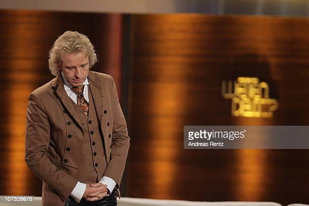 TV host Thomas Gottschalk looks dejected during the 192th 'Wetten dass ' show at the exhibition hall Dusseldorf on December 4 2010 in Duesseldorf...