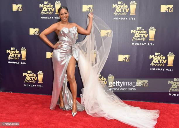 Host Tiffany Haddish attends the 2018 MTV Movie And TV Awards at Barker Hangar on June 16 2018 in Santa Monica California