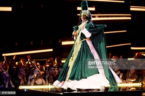 Host Tiffany Haddish speaks onstage during the 2018 MTV Movie And TV Awards at Barker Hangar on June 16 2018 in Santa Monica California