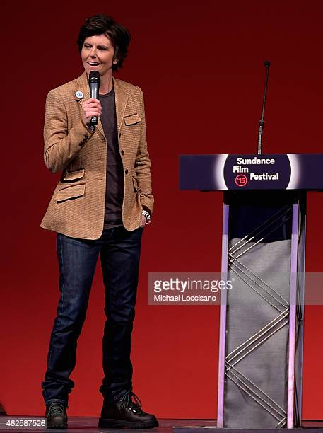 Host Tig Notaro speaks onstage at the Awards Night Ceremony during the 2015 Sundance Film Festival at the Basin Recreation Field House on January 31...
