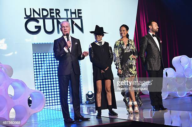 TV host Tim Gunn and designers Mondo Guerra Anya AyoungChee and Nick Verreos attend the 'Under The Gunn' Finale Fashion Show at Los Angeles Theatre...
