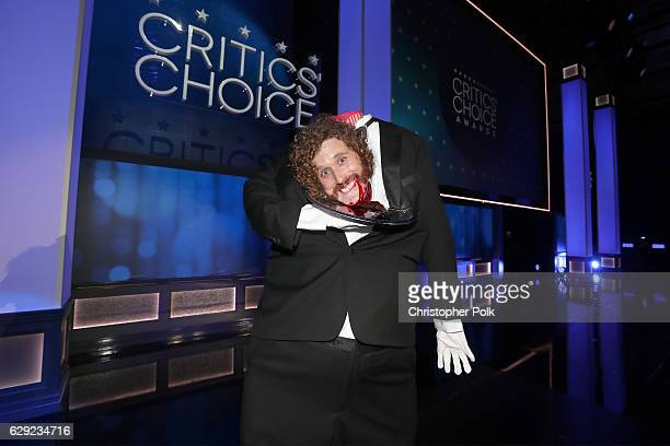 Host TJ Miller speaks onstage during The 22nd Annual Critics' Choice Awards at Barker Hangar on December 11 2016 in Santa Monica California