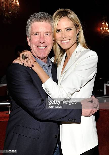 Host Tom Bergeron and TV personality Heidi Klum arrive at UNICEF Playlist With The AList at El Rey Theatre on March 15 2012 in Los Angeles California