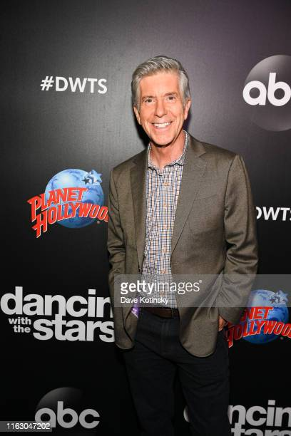 Host Tom Bergeron arrives at the 2019 Dancing With The Stars Cast Reveal at Planet Hollywood Times Square on August 21 2019 in New York City