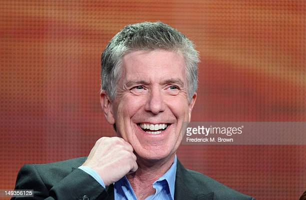 Host Tom Bergeron speaks onstage at the Dancing with the Stars AllStars panel during the Disney/ABC Television Group portion of the 2012 Summer TCA...