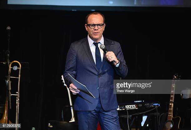 Host Tom Papa speaks onstage during Little Kids Rock Benefit 2016 at Capitale on October 5 2016 in New York City