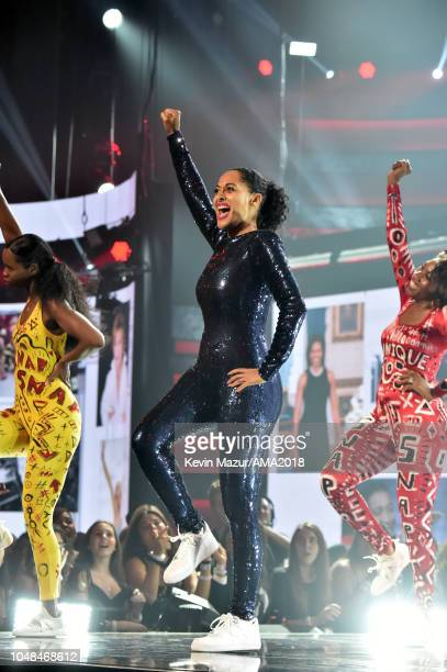 Host Tracee Ellis Ross performs onstage during the 2018 American Music Awards at Microsoft Theater on October 9 2018 in Los Angeles California