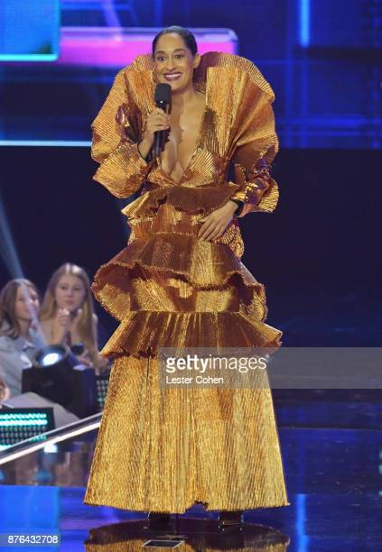 Host Tracee Ellis Ross speaks onstage during the 2017 American Music Awards at Microsoft Theater on November 19 2017 in Los Angeles California