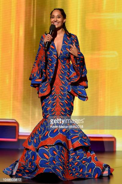 Host Tracee Ellis Ross speaks onstage during the 2018 American Music Awards at Microsoft Theater on October 9 2018 in Los Angeles California