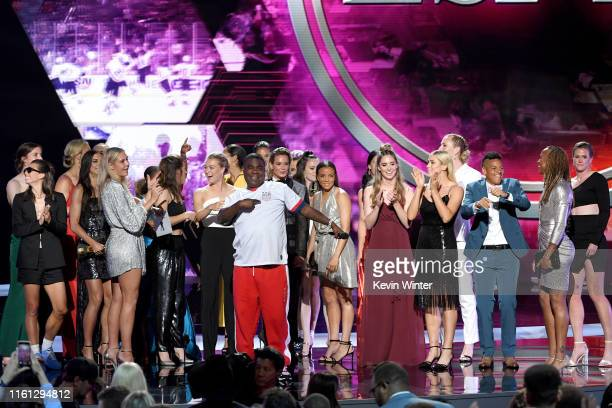 Host Tracy Morgan speaks after the United States Women's National Soccer Team accepted the Best Team award onstage during The 2019 ESPYs at Microsoft...
