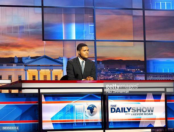 """Host Trevor Noah """"The Daily Show with Trevor Noah Presents The 2016 Democratic National Convention Let's Not Get Crazy"""" speaks from the Annenberg..."""