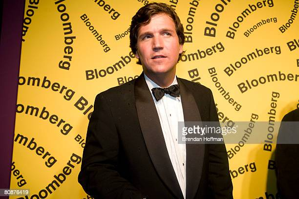 Host Tucker Carlson arrives at the Bloomberg afterparty following the White House Correspondents' Dinner April 26, 2008 in Washington, DC.