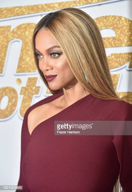 Host Tyra Banks arrives for the America's Got Talent Season 13 Live Show at Dolby Theatre on August 21 2018 in Hollywood California