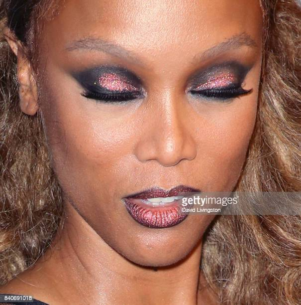 Host Tyra Banks eye shadow detail attends NBC's America's Got Talent Season 12 Live Show at Dolby Theatre on August 29 2017 in Hollywood California