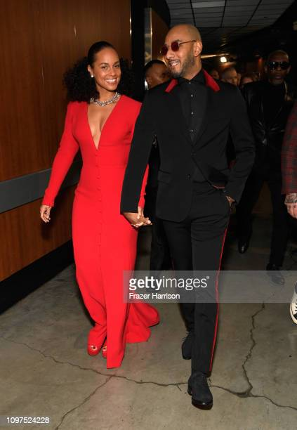 Host US singersongwriter Alicia Keys and husband rapper Swizz Beatz backstage during the 61st Annual GRAMMY Awards at Staples Center on February 10...