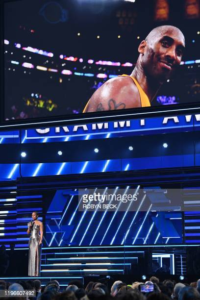 Host US singersongwriter Alicia Keys speaks about late NBA legend Kobe Bryant during the 62nd Annual Grammy Awards on January 26 in Los Angeles