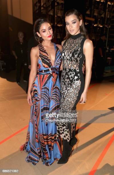 Host Vanessa Hudgens and actor/singer Hailee Steinfeld attend the 2017 Billboard Music Awards at TMobile Arena on May 21 2017 in Las Vegas Nevada