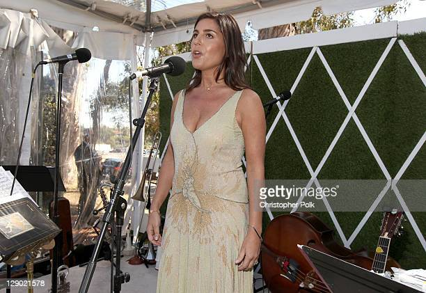 Host Vanessa Kay speaks during the Veuve Clicquot Polo Classic Los Angeles at Will Rogers State Historic Park on October 9, 2011 in Los Angeles,...