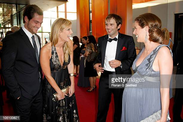TV host Verena Wriedt and boyfriend Marcus Zierk Arne Schoenfeld and tv host Verena Wriedt attend the German TV Award 2010 at Coloneum on October 9...