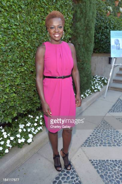 Host Viola Davis arrives at the Rape Treatment Center Brunch honoring Norman Lear hosted by Viola Davis at Green Acres Estate on October 14 2012 in...